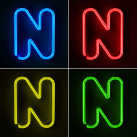 colorful light display: Highly detailed neon sign with the letter N in four colors