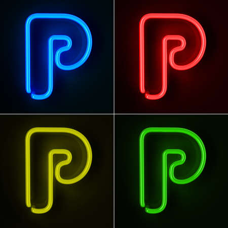 letter p: Highly detailed neon sign with the letter P in four colors