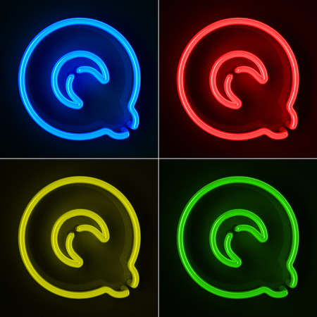 Highly detailed neon sign with the letter Q in four colors photo