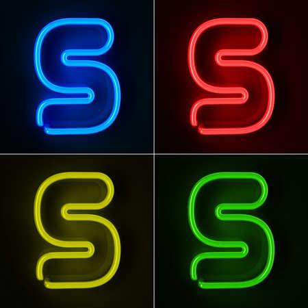 letra s: De ne�n altamente detallado cartel con la letra S en cuatro colores