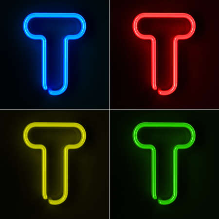 Highly detailed neon sign with the letter T in four colors Stock Photo - 12505512