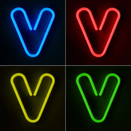 colorful light display: Highly detailed neon sign with the letter V in four colors Stock Photo