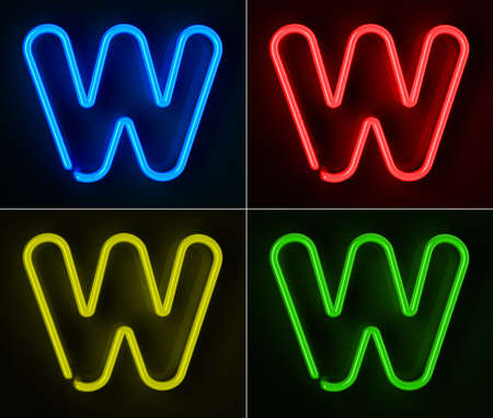 Highly detailed neon sign with the letter W in four colors Stock Photo - 12505539
