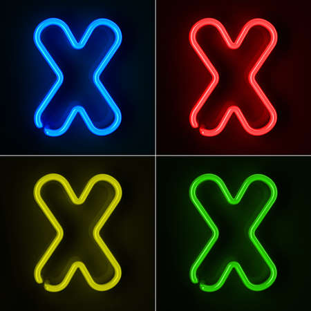 neon letter: Highly detailed neon sign with the letter X in four colors