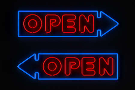 Neon sign with arrow showing an open store photo