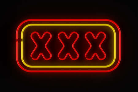 Triple X neon sign illuminated over dark background