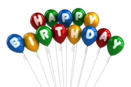 Colorful happy birthday balloons over white background Stock Photo