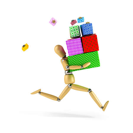 big boxes: Wooden mannequin with a load of gifts rushing over white background