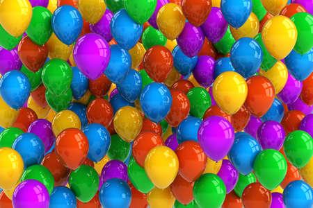 globos de cumplea�os: Parte de colores de fondo con bal�n con decenas de globos Foto de archivo