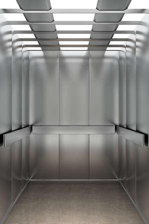Interieur van een moderne lift met uitzicht op de achterwand