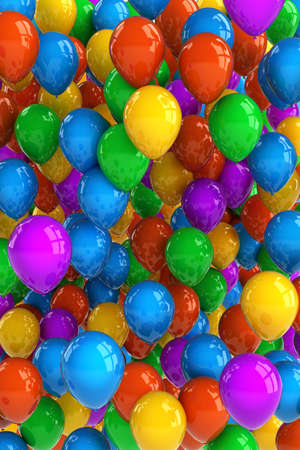 dozens: Colorful party balloon background with dozens of balloons