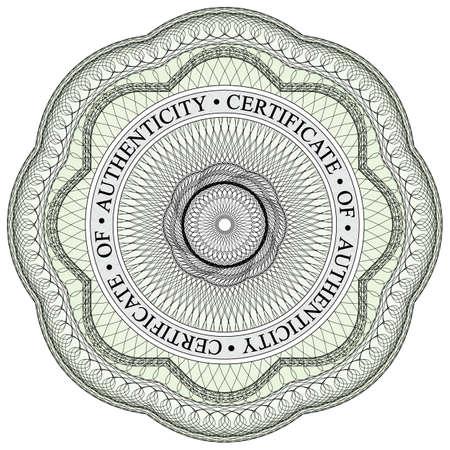 Met ronde tekst waarin certificaat van echtheid