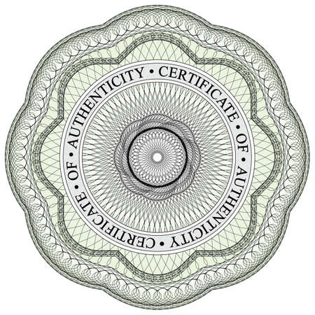 authenticity: With circular text stating certificate of authenticity
