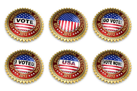 presidential election: Set of six 2012 US presidential election buttons over white background including clipping paths