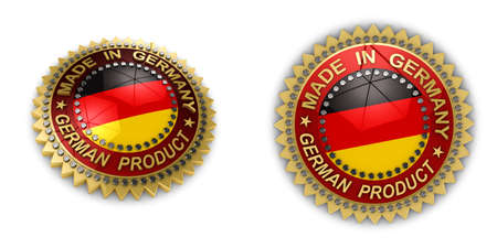 Two shiny seals with Made in Germany text on them over white background photo