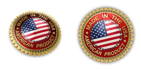 gemaakt: Twee glanzende zeehonden met Made in the USA tekst op hen op witte achtergrond