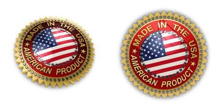 made to order: Two shiny seals with Made in the USA text on them over white background