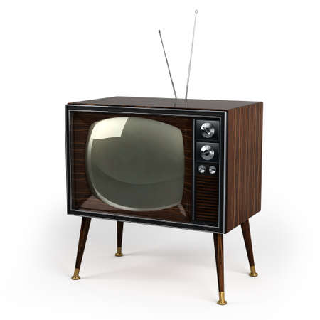 Classic vintage TV with wood veneer design over white background photo