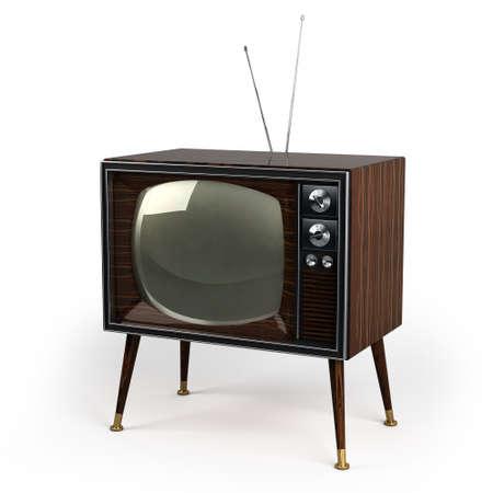 Klassieke uitstekende TV met houtfineer ontwerp op een witte achtergrond