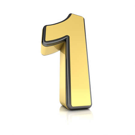 The number one as a shiny metal object over white Stock Photo - 13334843