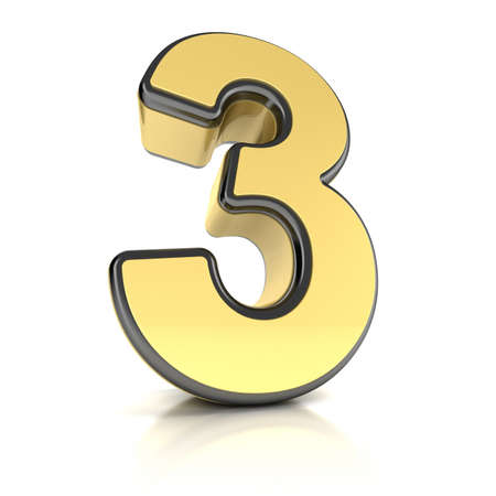 three object: The number three as a shiny metal object over white Stock Photo