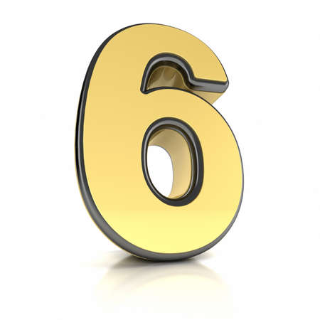 The number six as a shiny metal object over white photo