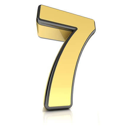 The number seven as a brushed chrome object over white Stock Photo - 13334839