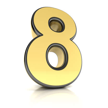 The number eight as a shiny metal object over white Stock Photo - 13334840