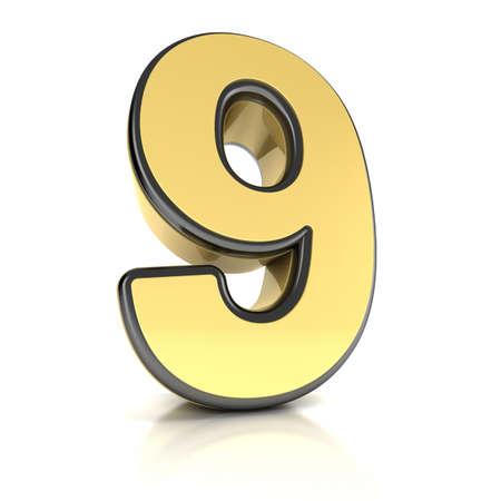 number nine: El n�mero nueve como un objeto de cromo satinado en blanco