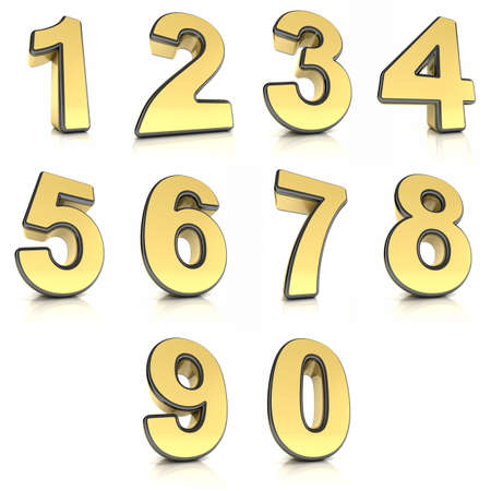 Number from 0 to 9 in metal over white background