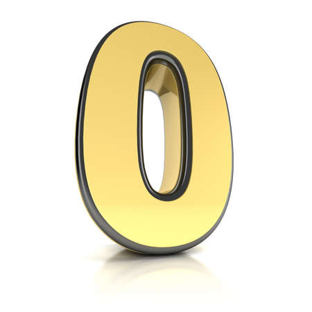The number zero as a brushed chrome object over white photo