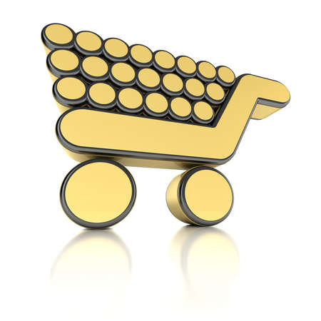 Shopping cart in 3D as a metal object over white background photo