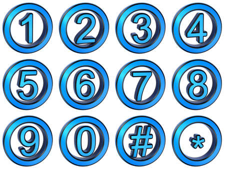 Number from 0 to 9 in glossy, blue metal over white background