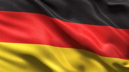 bandera alemania: Bandera de seda de Alemania ondeando en el viento, con textura de tela muy detallado