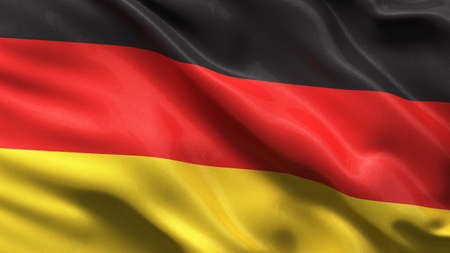 germany flag: Silky flag of Germany waving in the wind with highly detailed fabric texture