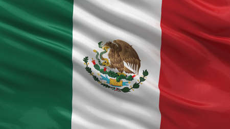 Flag of Mexico waving in the wind with highly detailed fabric texture photo