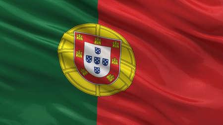 drapeau portugal: Drapeau du Portugal ondulant dans le vent avec une texture de tissu très détaillée