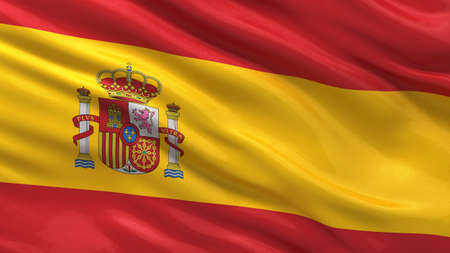 Flag of Spain waving in the wind with highly detailed fabric texture Stock Photo