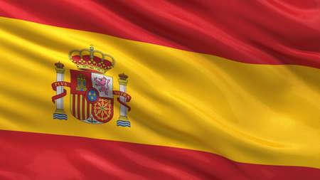 Vlag van Spanje zwaaien in de wind met zeer gedetailleerde stof textuur
