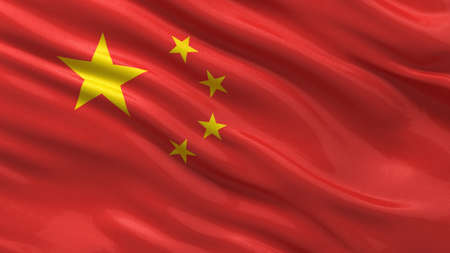 Flag of China waving in the wind with highly detailed fabric texture Foto de archivo