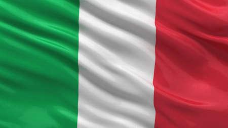 bandiera italiana: Bandiera d'Italia sventola nel vento con tessuto trama molto dettagliato
