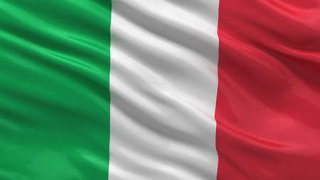 Flag of Italy waving in the wind with highly detailed fabric texture photo