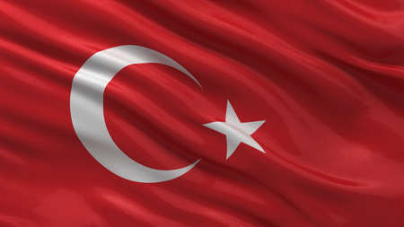 turkish: Flag of Turkey waving in the wind with highly detailed fabric texture