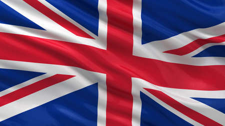 Flag of the United Kingdom waving in the wind with highly detailed fabric texture Standard-Bild