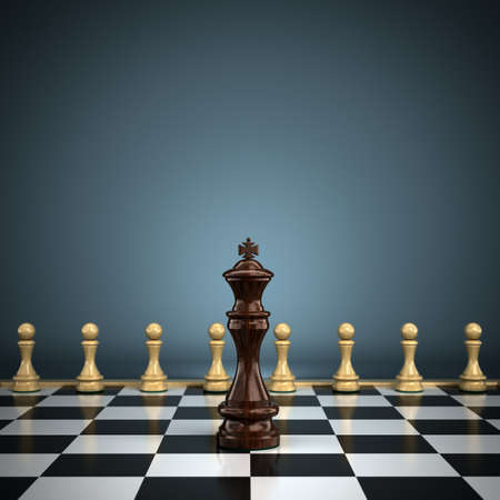 forward: King with pawns on chessboard symbolizing leadership or battle  Shallow depth of field with focus on the king  Stock Photo