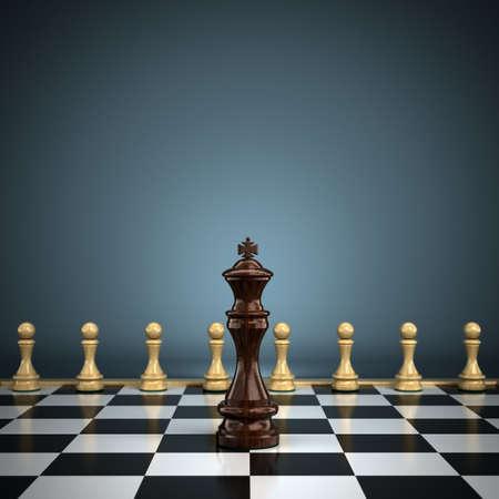 lideres: Rey con peones en el liderazgo o la profundidad de tablero de ajedrez que simboliza la batalla poca profundidad de campo con el foco en el rey Foto de archivo