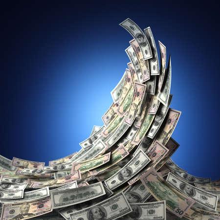 retour: Money concept toont een golf van Amerikaanse dollarbiljetten