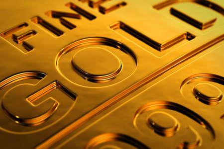 ingot: Close-up view of a gold bar with shallow depth of field. Stock Photo