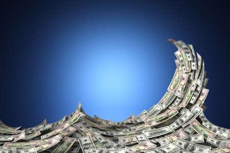 Money concept toont een golf van Amerikaanse dollarbiljetten