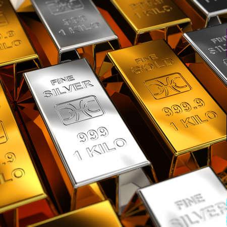 lingotes de oro: Barras de oro y plata colocados uno al lado del otro con poca profundidad de campo